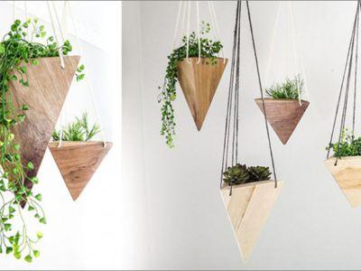 Design: wiszące, geometryczne donice